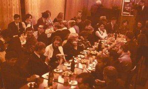 "This photograph shows a banquet held after a performance of ""Arkhimed."" The photograph also comes from the private archive of M. A. Lebedeva."